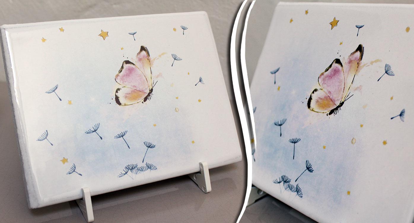 Plaques funeraires en pierre papillonange: Réalisation en pierre de lave émaillée