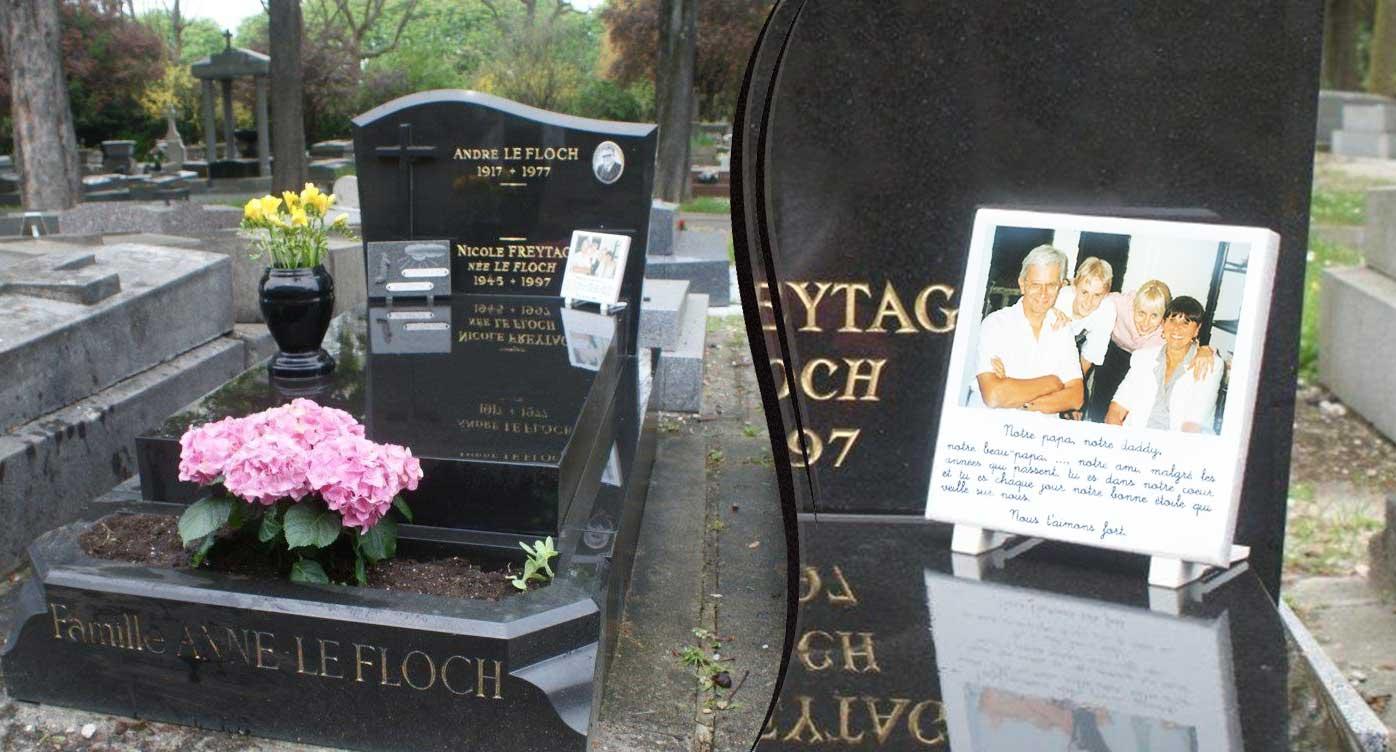 Plaques funeraires en pierre tombe: Réalisation en pierre de lave émaillée
