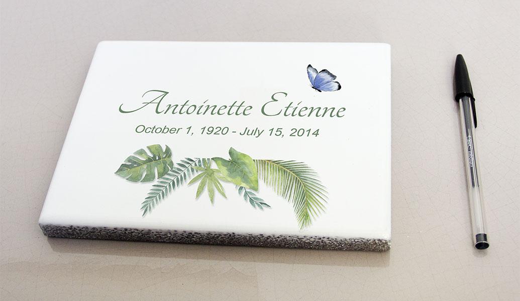 Plaques funeraires en pierre tropique12: Réalisation en pierre de lave émaillée