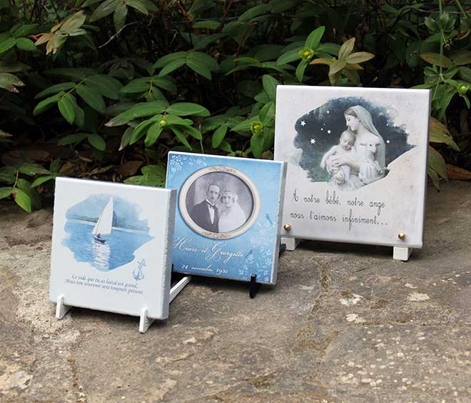 Plaques funeraires en pierre viergegrandparent: Réalisation en pierre de lave émaillée